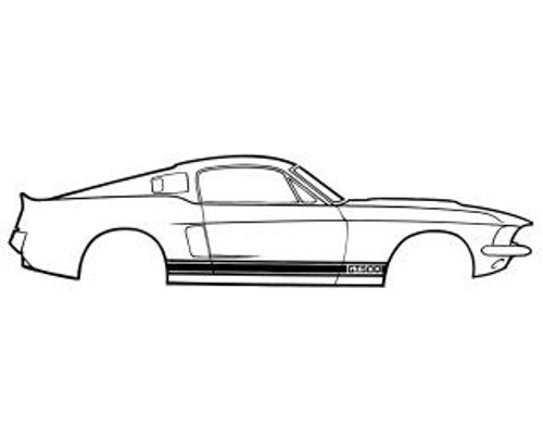 1967 Ford Mustang Shelby GT 350 side stripe kit, early version. Kit includes decals to do the complete car.  Note: 1967 Shelby's had an early and late version of the side stripe.  The fender stripe was different.