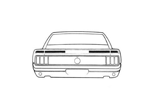 1970 Ford Mustang Mach 1 trunk lid strip kit.  Quarter extension and trunk stripe, 3 piece kit.