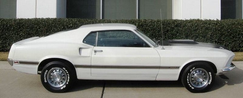 1969 Ford Mustang Mach 1 side stripe kit, black with gold center.