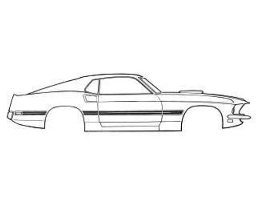 1969 Ford Mustang Mach 1 side stripe kit, red with gold center.