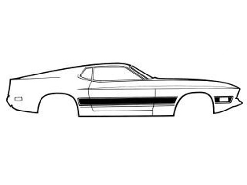 1973 Ford Mustang Mach 1 side stripe kit. Complete with sides and trunk.