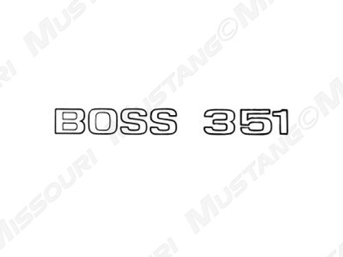 1971 Ford Mustang Boss 351 trunk lid decal, stripe not included.  Colored outline (black or argent) with clear center.