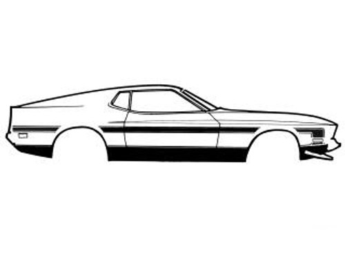 1971 Ford Mustang Boss 351 rally side stripe kit, black.