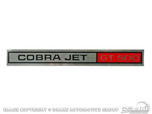 1969-70 Cobra Jet GT 500 Dash Decal