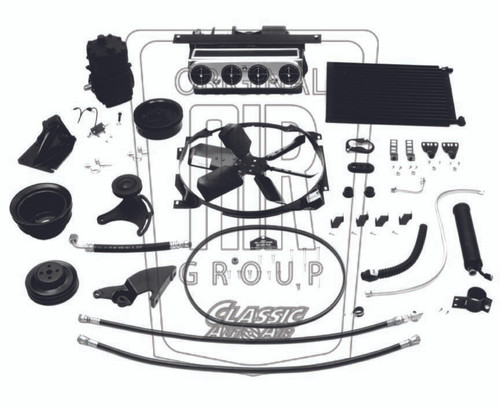 Typical 1964-1966 Ford Mustang original underdash air conditioning system.