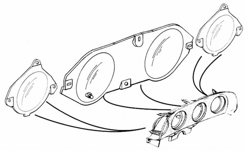 1969-1970 Ford Mustang instrument lens without factory tachometer.