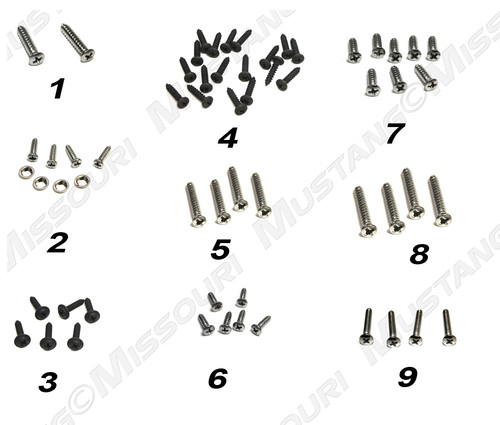 1969-1970 Ford Mustang convertible interior screw kit.
