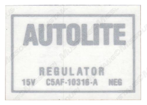 1965-66 Voltage Regulator Decal non Air