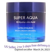 Missha Super Aqua 10 Hyaluronic Acid Ultra Hyalron Cream 70ml + Free samples !!