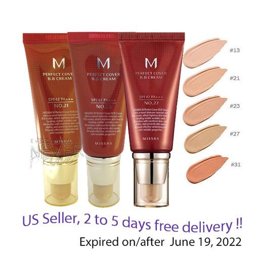 Missha M Perfect Cover BB Cream SPF42 PA+++, NO 13,21,23,27,31  50g +Sample!!