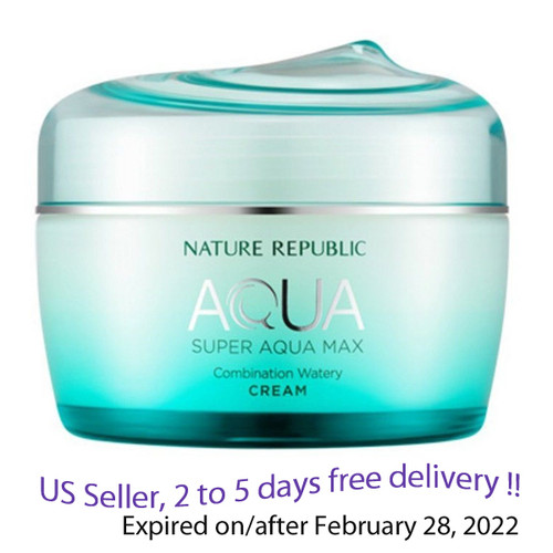 Nature Republic Super Aqua max Combination Watery Cream 80ml + Free Sample !