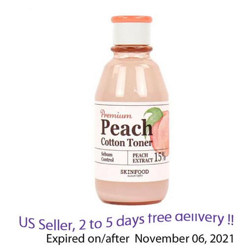 SKINFOOD Premium Peach Cotton Toner 180ml + Free Gift Sample !!