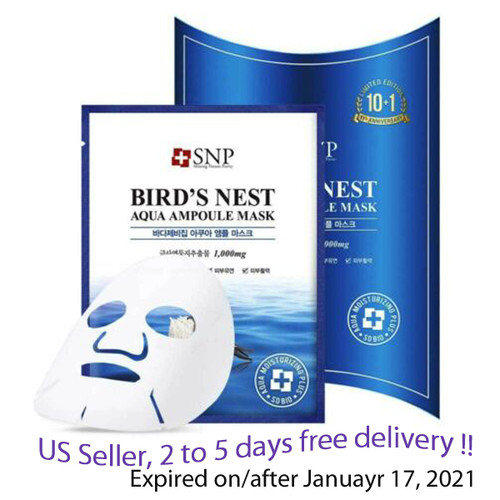SNP Bird's Nest Aqua Ampoule Mask  25ml * 10 units + Free Sample !!