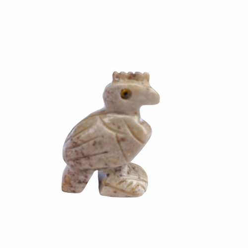 """Rooster on a Rock - Carved Dolomite Stone Animal Figurine 1.25"""""""