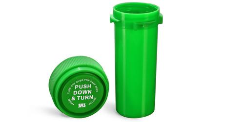 Lime Green Medicine Bottle Vial, 16 dram