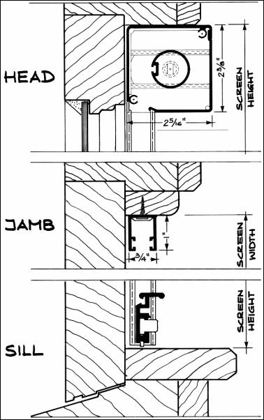 ROLL AWAY Window Screen - Casement Window Architectural Detail