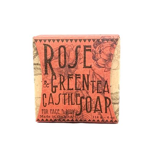 Rose and Green Tea Soap   INGREDIENTS:  coconut oil, olive oil, lauric  acid, stearic acid, water, green tea extract,   black tea extract, vitamins C, vitaming E ,   sea salt, sugar, water, food grade lye,   rose essential oil, dried strawberry   (for color)