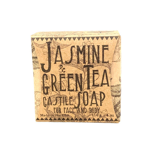 New Jasmine and Green Tea Soap   INGREDIENTS : coconut oil, lauric acid, stearic acid, water, olive oil, almond oil,  green tea extract, food grade lye,  vitamin c, vitamin e, sugar, sea salt,  jasmine essential oil, black tea extract