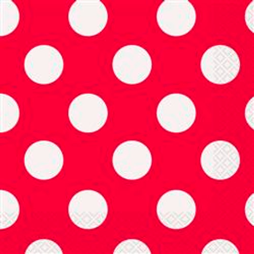DOTS RED 16 LUNCHEON NAPKINS