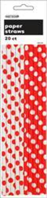DOTS RED 20 PAPER STRAWS
