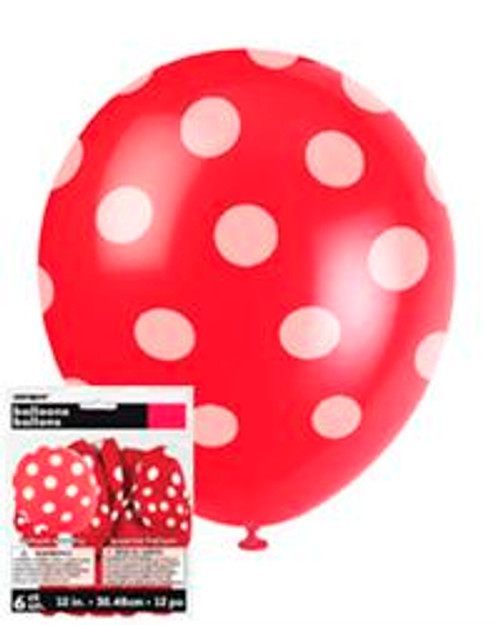 """DOTS RED 6 x 30cm (12"""") BALLOONS"""