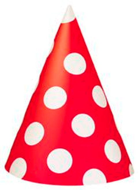 DOTS RED 8 PARTY HATS