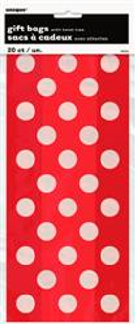 "DOTS RED 20 CELLO BAGS 12.5cm W x 28cm H (5""x11"")"
