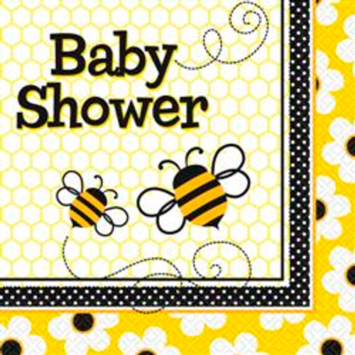 BUSY BEES 16 LUNCHEON NAPKINS - BABY SHOWER
