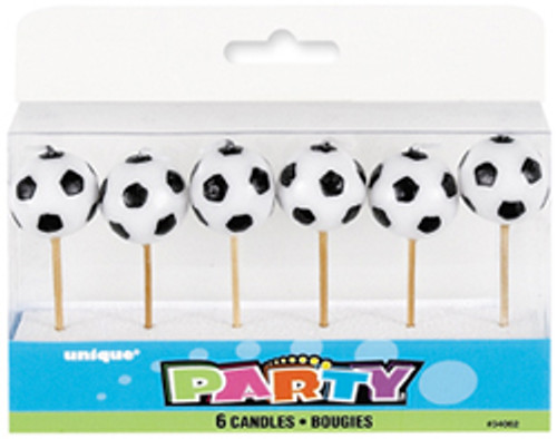 6 SOCCER BALL PICK CANDLES