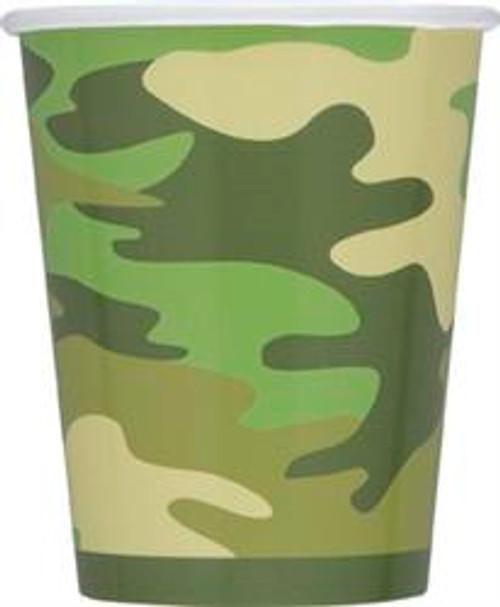 CAMO 8 x 270ml (9oz) PAPER CUPS