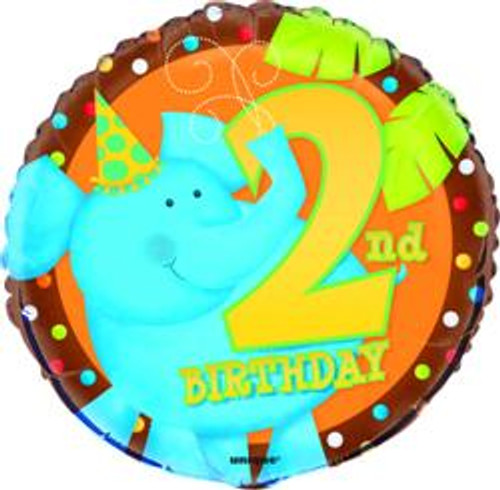 """JUNGLE PARTY 2nd BIRTHDAY 45cm (18"""") FOIL BALLOON PACKAGED"""