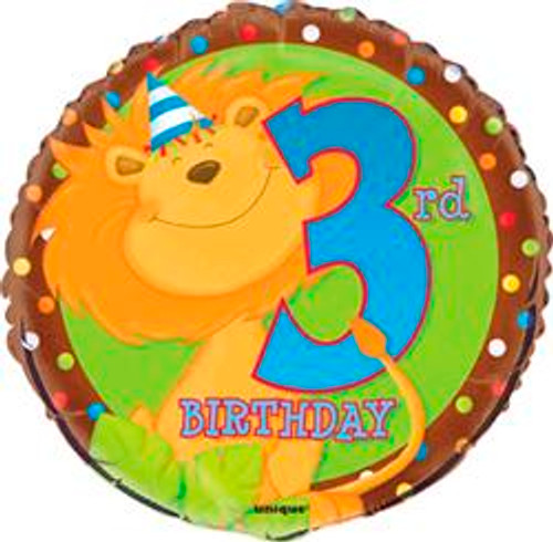 """JUNGLE PARTY 3rd BIRTHDAY 45cm (18"""") FOIL BALLOOON PACKAGED"""