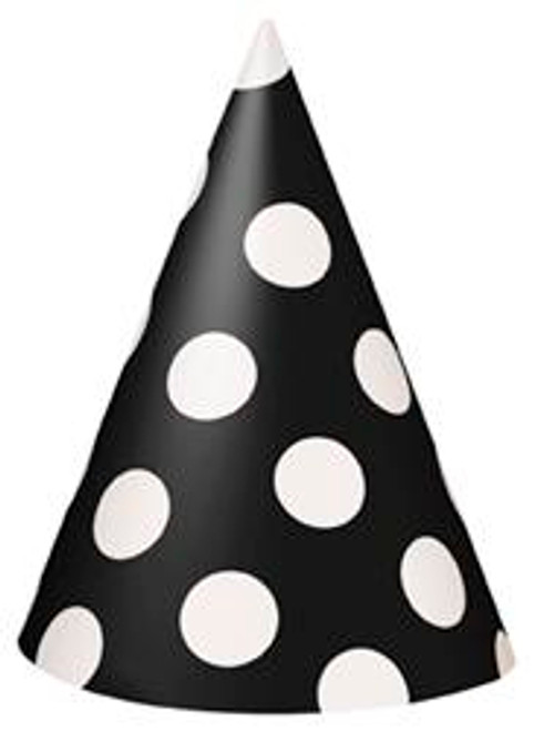 DOTS BLACK 8 PARTY HATS
