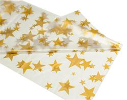 """CLEAR GOLD STARS METEOR PLASTIC TABLECOVER RECTANGLE 137cm X 274cm (54"""" X 108"""")"""