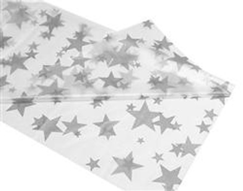 """CLEAR SILVER STARS METEOR PLASTIC TABLECOVER RECTANGLE 137cm X 274cm (54"""" X 108"""")"""