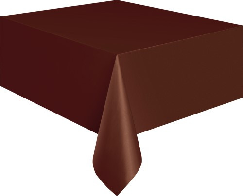 """BROWN UNIQUE PLASTIC TABLECOVER RECTANGLE 137cm X 274cm (54"""" X 108"""")"""