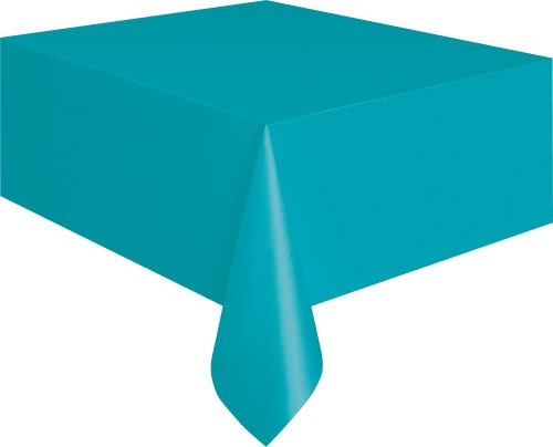 """CARIBBEAN TEAL UNIQUE PLASTIC TABLECOVER RECTANGLE 137cm X 274cm (54"""" X 108"""")"""
