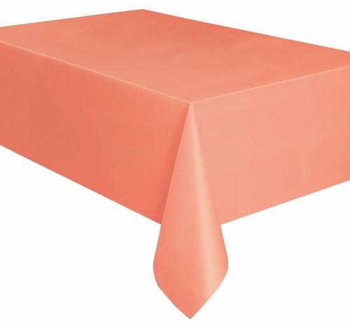 """CORAL UNIQUE PLASTIC TABLECOVER RECTANGLE 137cm X 274cm (54"""" X 108"""")"""