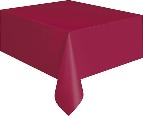 "BURGUNDY PLASTIC TABLECOVER RECTANGLE 137cm X 274cm (54' X 108"")"