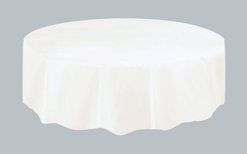 "BRIGHT WHITE UNIQUE PLASTIC TABLECOVER ROUND 213cm DIAMETER (84"")"