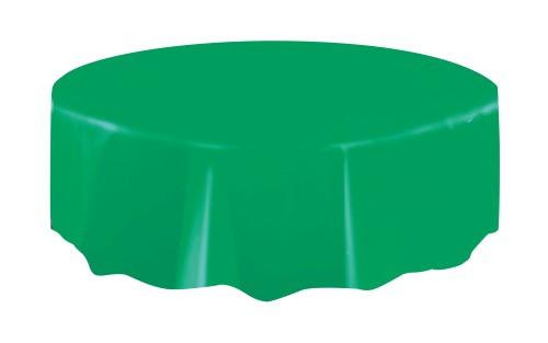 "EMERALD GREEN UNIQUE PLASTIC TABLECOVER ROUND 213cm DIAMETER (84"")"