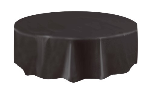 "MIDNIGHT BLACK UNIQUE PLASTIC TABLECOVER ROUND 213cm DIAMETER (84"")"
