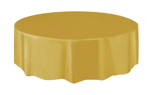 "GOLD UNIQUE PLASTIC TABLECOVER ROUND 213cm DIAMETER (84"")"