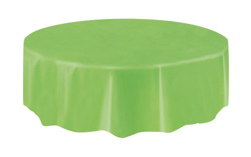 "LIME GREEN UNIQUE PLASTIC TABLECOVER ROUND 213cm DIAMETER (84"")"