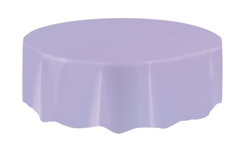 "LAVENDER UNIQUE PLASTIC TABLECOVER ROUND 213cm DIAMETER (84"")"