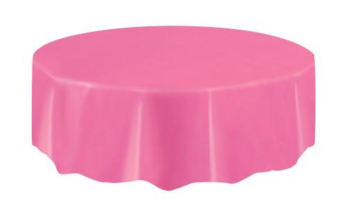 "HOT PINK UNIQUE PLASTIC TABLECOVER ROUND 213cm DIAMETER (84"")"
