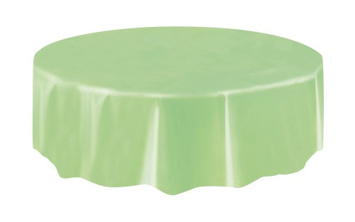 "APPLE GREEN PLASTIC TABLE COVER ROUND 213cm DIAMETER (84"")"