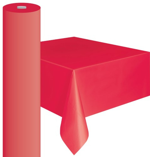 "RED METEOR PLASTIC TABLECOVER ROLL 122cm W X 30m L (48""X100')"