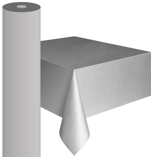 "SILVER METEOR PLASTIC TABLECOVER ROLL 122cm W X 30m L (48""X100')"
