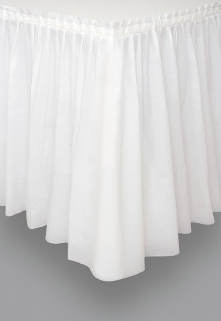 "BRIGHT WHITE PLASTIC TABLESKIRT 73cm X 4.3m (29""X14')"